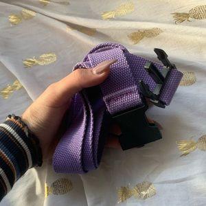 lilac light purple canvas hype black buckle belt